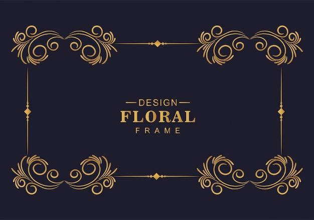 Mooi decoratief gouden bloemenkaderontwerp Gratis Vector