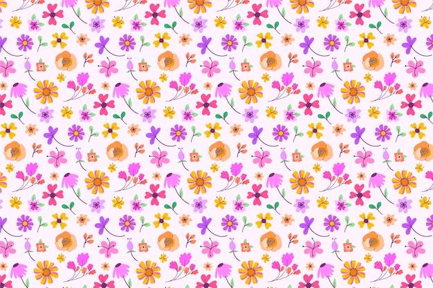 Mooi ditsy bloemenbehang Gratis Vector