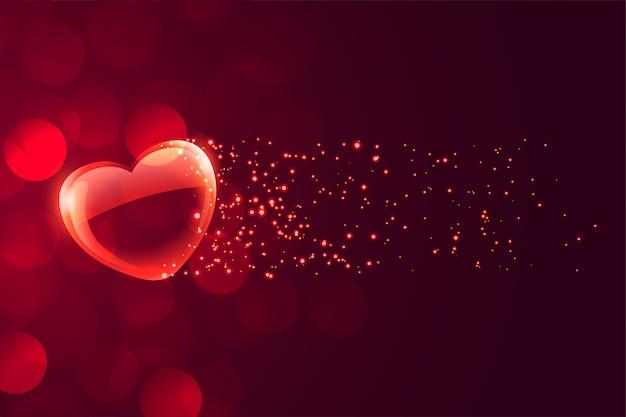 Mooi drijvend romantisch hart op bokehachtergrond Gratis Vector