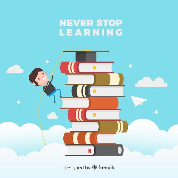 Mooi educactionconcept met vlak ontwerp Gratis Vector