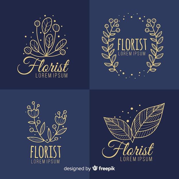 Mooi en elegant logo of logo ingesteld voor bruiloft of bloemist Gratis Vector