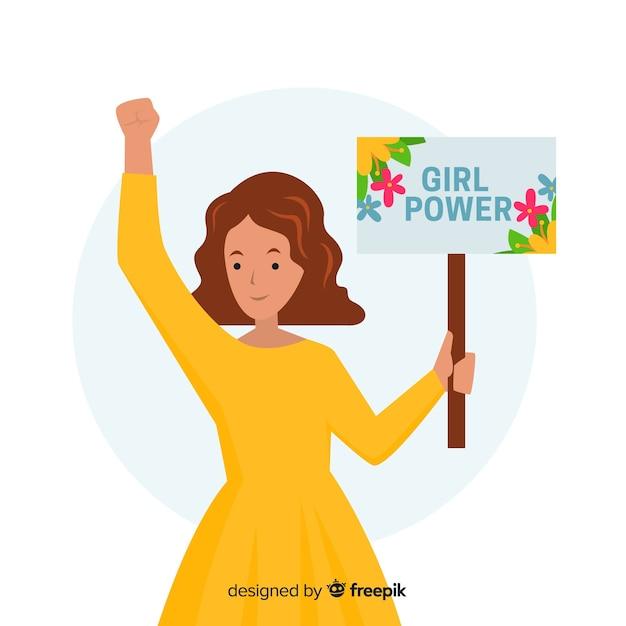 Mooi feminismeconcept met vlak ontwerp Gratis Vector