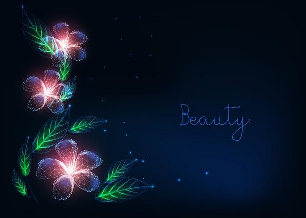 Mooi futuristisch bloemenwebbannersjabloon met gloeiende laag poly paarse bloemen, groene bladeren Premium Vector