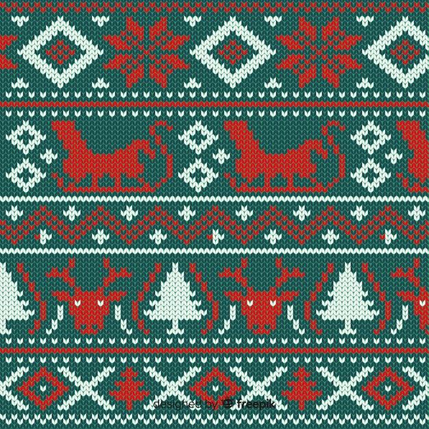 Mooi gebreid kerstpatroon Gratis Vector