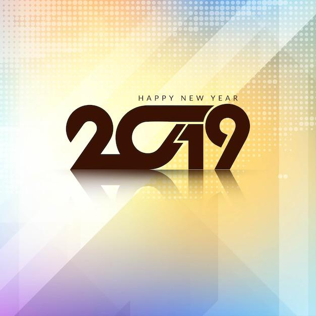 Mooi gelukkig nieuwjaar 2019 achtergrondontwerp Gratis Vector