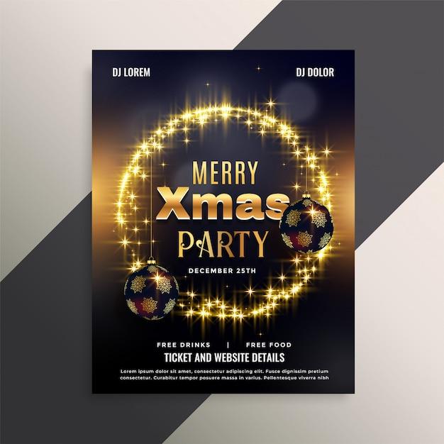 Mooi glanzend de vliegerafficheontwerp van kerstmis Gratis Vector