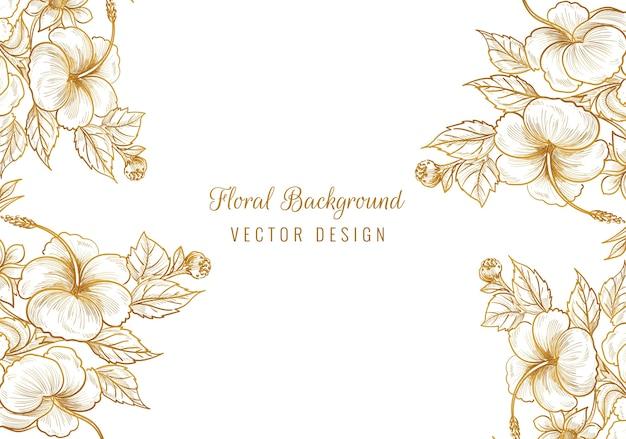 Mooi gouden sier bloemenframe Gratis Vector