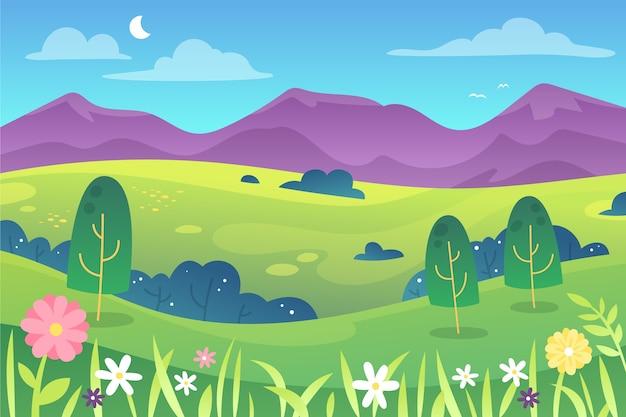 Mooi gradiënt lente landschap Gratis Vector