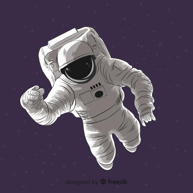 Mooi hand getrokken astronautenkarakter Gratis Vector