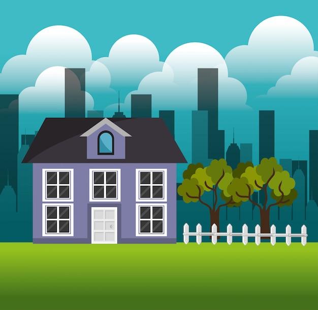 Mooi huis familie buitenwijk landschap Gratis Vector