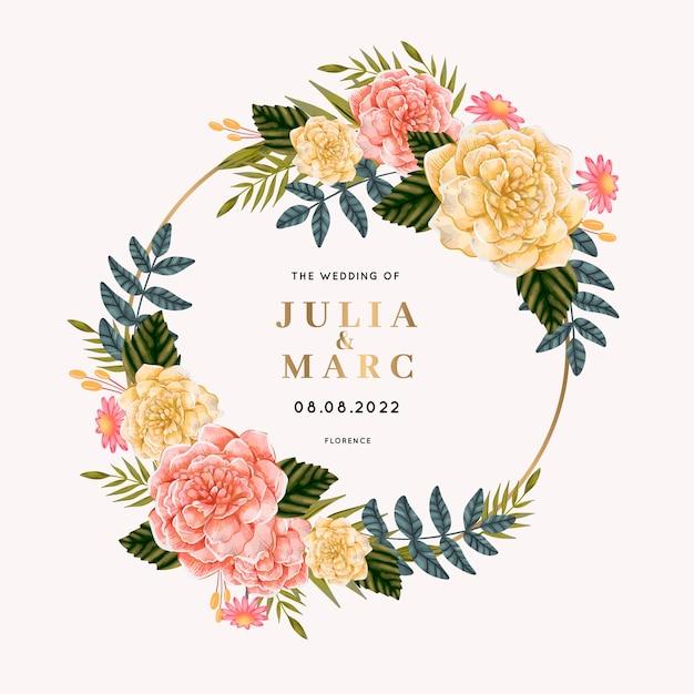 Mooi huwelijkskader met bloemen Gratis Vector