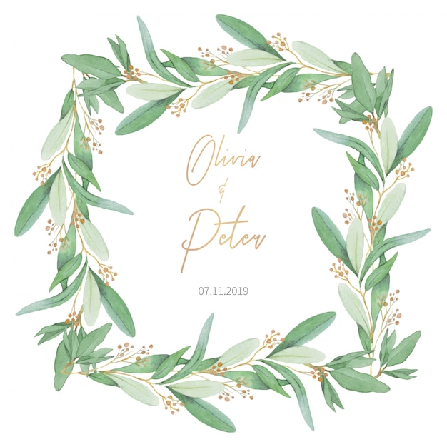 Mooi huwelijkskader met olijfbladeren Gratis Vector
