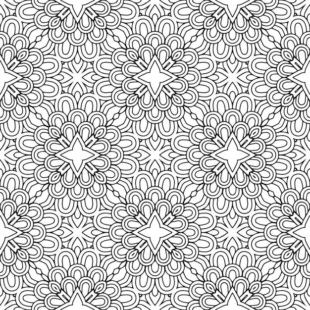 Mooi indisch traditioneel naadloos zwart-wit patroon Premium Vector
