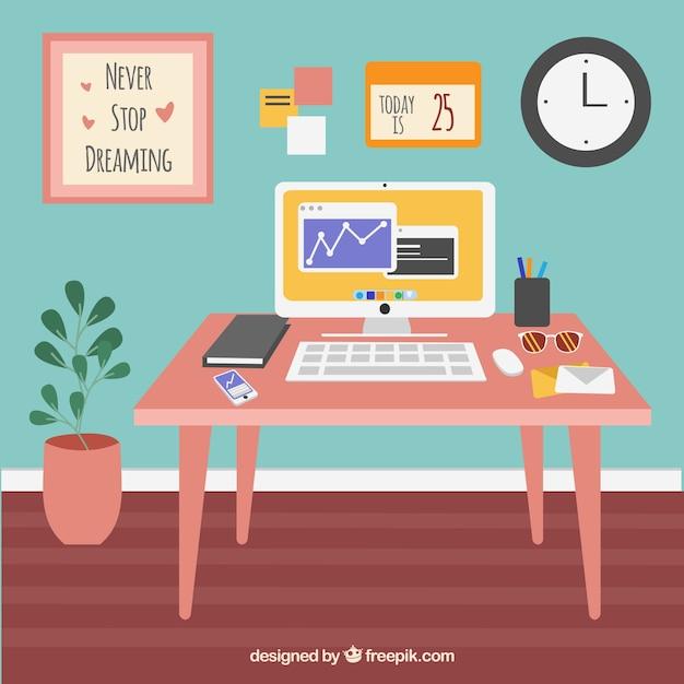 Design Kantoor Bureau.Mooi Kantoor Bureau Met Vlak Design Vector Gratis Download