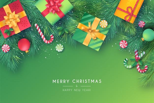 Mooi kerstkader met groene en rode ornamenten Gratis Vector