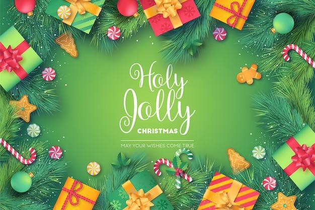 Mooi kerstmiskader met groene en rode presenteert Gratis Vector