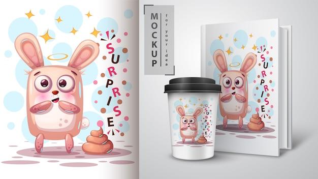 Mooi konijn en merchandising Premium Vector
