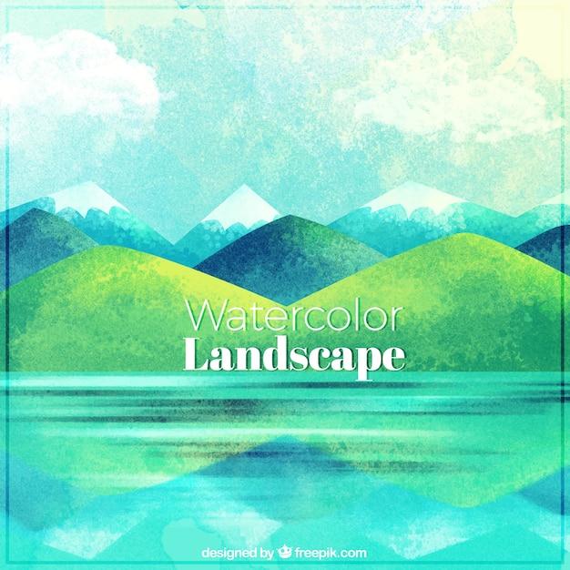 Mooi landschap met meren en bergen Gratis Vector
