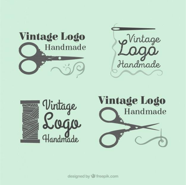 Mooi logo's set van de hand getekende naaien Gratis Vector