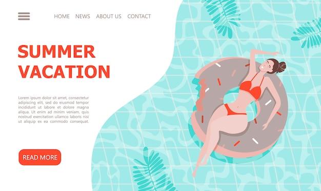 Mooi meisje op opblaasbare zwembadvlotter. landingspagina sjabloon. Premium Vector