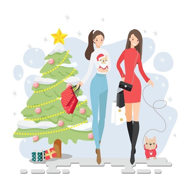 Mooi meisje vrienden winter kerstinkopen samen met hun franse bulldog puppy geïsoleerd Premium Vector
