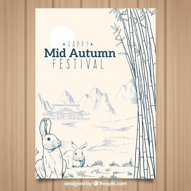 Mooi midden herfst festival poster Gratis Vector
