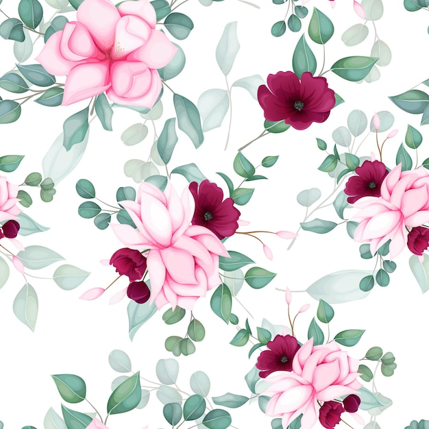 Mooi naadloos patroon bloemenontwerp Gratis Vector