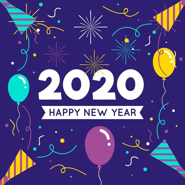 Mooi nieuw jaar 2020 in plat ontwerp Gratis Vector