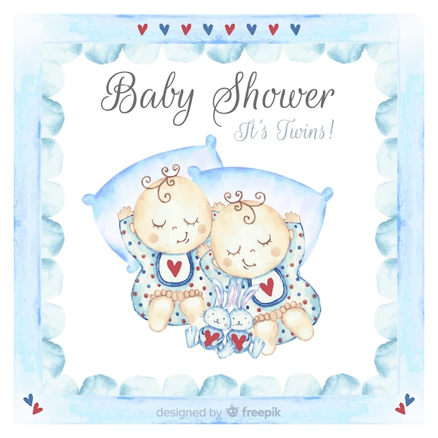 Mooi ontwerp van het waterverfbaby shower Gratis Vector