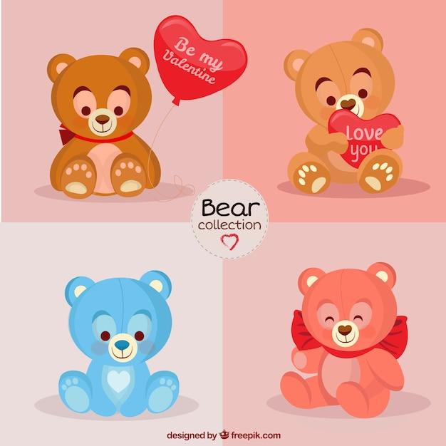 Mooi opgezette beren voor valentijn dag Gratis Vector