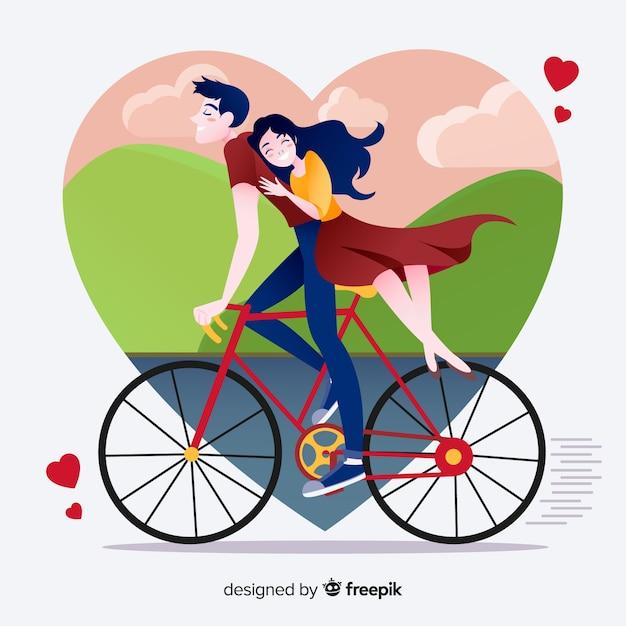Mooi paar in liefdeillustratie op vlak ontwerp Gratis Vector