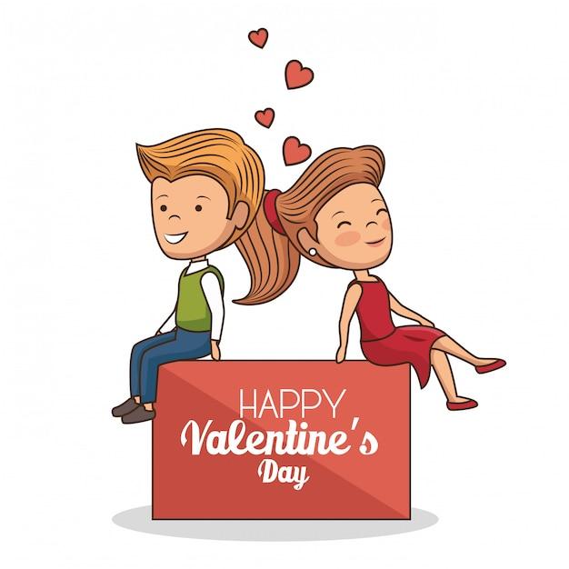 Mooi paar valentijnsdag Gratis Vector