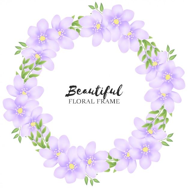 Mooi paars bloemencirkelkader Premium Vector