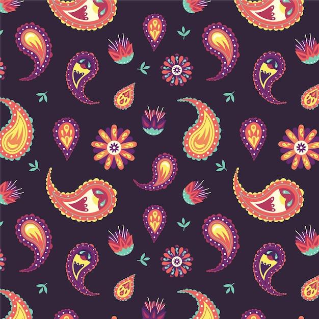 Mooi paisley-patroon met kleurrijke elementen Premium Vector