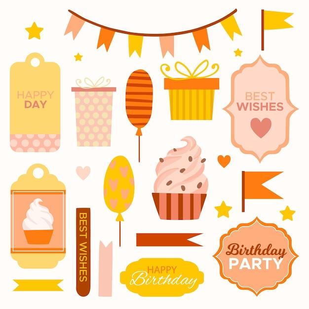 Mooi pakket met plakboekelementen voor verjaardag Gratis Vector