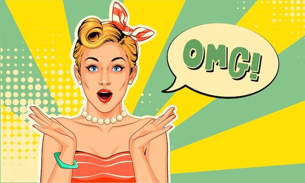 Mooi pin-up meisje met opgewonden uitdrukkingen in pop-artstijl Premium Vector