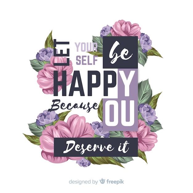 Mooi positief bericht met bloemen Gratis Vector