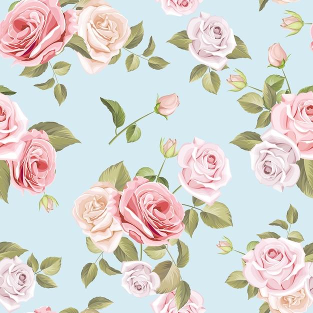 Mooi rozen en bladeren naadloos patroon Premium Vector