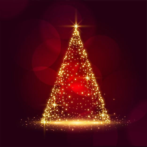 Mooi sparkle kerstboom glanzend rood festival kaart ontwerp Gratis Vector