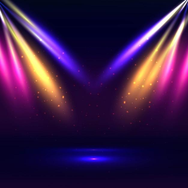 Mooi stadium met kleurrijke lichtenachtergrond Gratis Vector