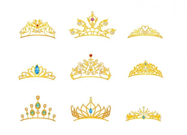 Mooi tiara goud met verschillende grootte en model Premium Vector