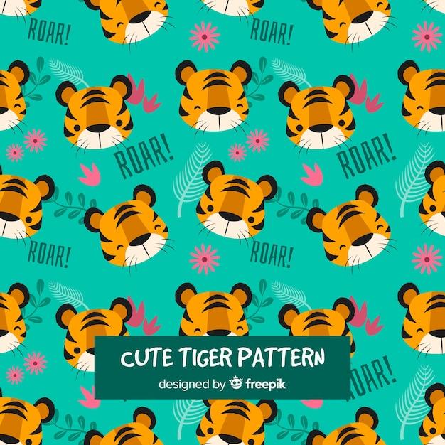 Mooi tijgerpatroon met plat ontwerp Gratis Vector