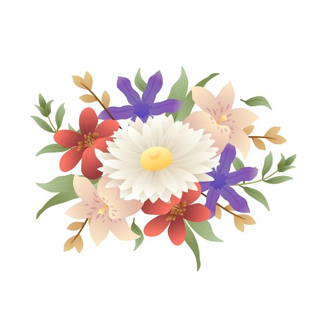 Mooi vintage bloemenboeket Gratis Vector