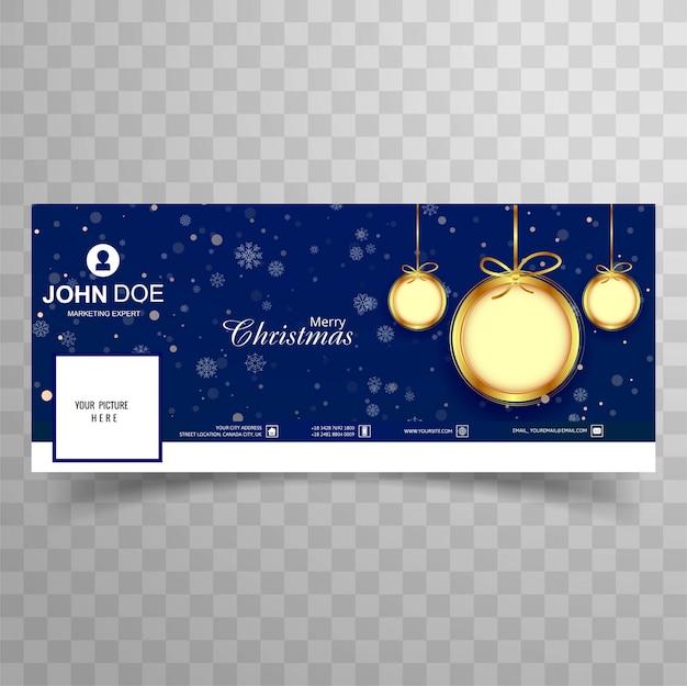 Mooi vrolijk de bannersmalplaatje van de kerstmisbal facebook dekking Premium Vector