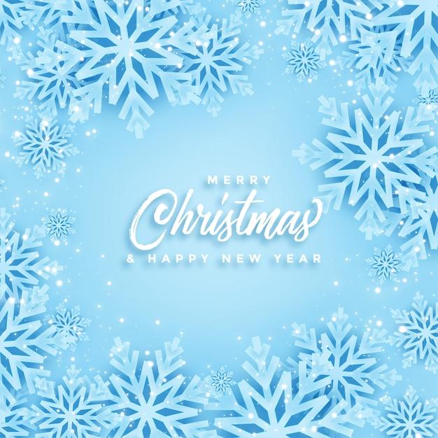 Mooi vrolijk kerstmis en winter sneeuwvlokken kaartontwerp Gratis Vector
