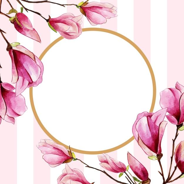 Mooi waterverf bloemenkader met strepenachtergrond Premium Vector