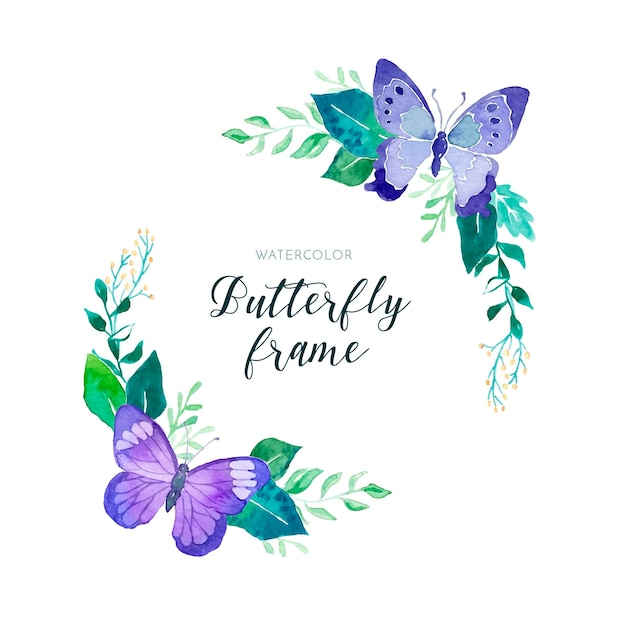 Mooi waterverf bloemenkader met vlinders Gratis Vector