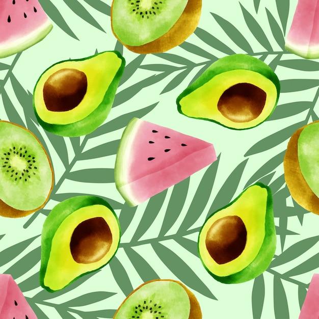 Mooi waterverf tropisch vruchten de zomer naadloos patroon Premium Vector