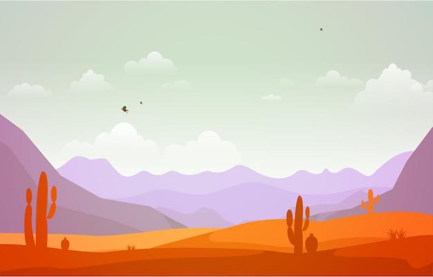 Mooi westelijk woestijnlandschap met hemelrots cliff mountain illustration Premium Vector