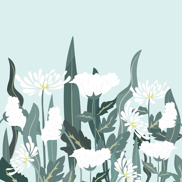 Mooi wit bloem en blad in de tuin. Premium Vector